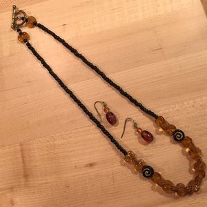 """20"""" Amber and black hand beaded necklace"""